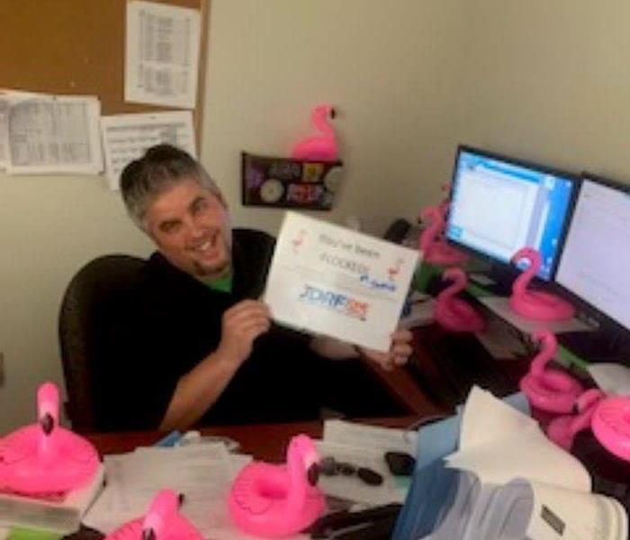 man at desk with plastic pink flamigoes all around him holding a sign saying you've been flocked